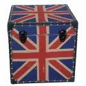 Union Jack Printed Storage Box Ottoman Flag Pouf Seat