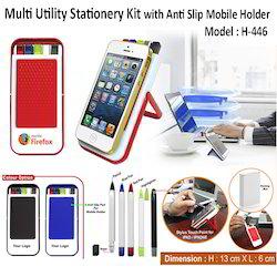Multi Utility Stationery Kit with Anti Slip Mobile Holder H-446