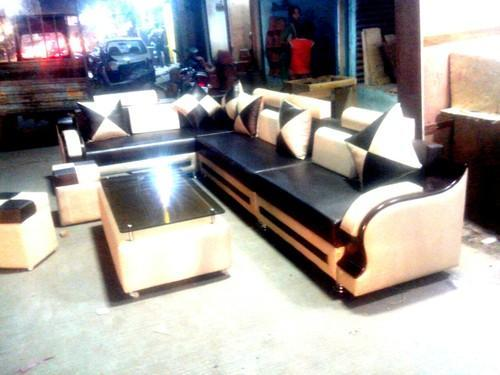 Marvelous L Shape Sofa Set With 2 Puffy And Center Table Download Free Architecture Designs Scobabritishbridgeorg
