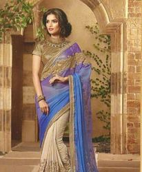 Half Net Saree
