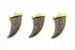 CZ Micro Pave Set Horn Pendant, Nanplanetsilver