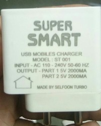 Super Smart Travel Mobile Charger 2.4 Amp With Cable And Warenty