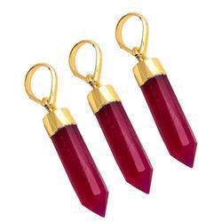 Hot Pink Chalcedony Gemstone Spike Pendant