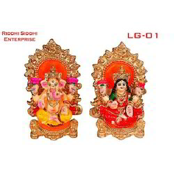 Riddhisiddhi Brown and Multicolor Laxmi Ganesh Statue