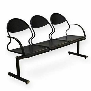 Batcha Furnitures Stainless Steel Black 3 Seater for Hospital