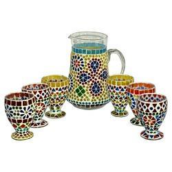 Mosaic Work Jug And Glass Set