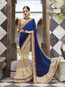 Crape Jacquard Dark Blue And Beige Color Saree