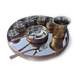 Smokey Finish Copper Hammered Maharaja Thali Set