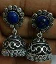Antique Oxidized Lapis Stone Earrings