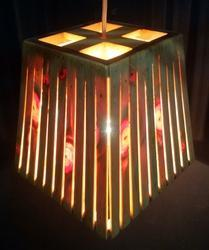 Wooden Hanging Square Lamp with slits