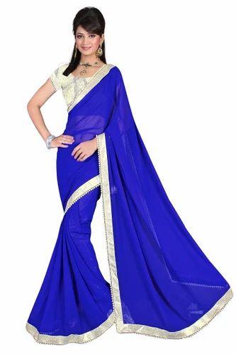 e17316f2b60efd Georgette Blue Plain Saree, Rs 395 /piece, Venu Gopal Synthetics ...