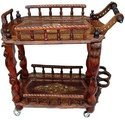 Shilpi Wooden Carved Service Trolley