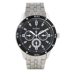 Silver Men Swiss Trend Black Dial Watch With Metallic Chain