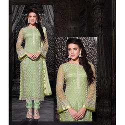 Zari Embroidered Net Suit