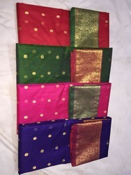 6.5 meter Printed Multicolor Party Wear Silk Sare, With Blouse Piece