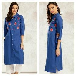 Cotton Flex Flower Embroidery Kurta
