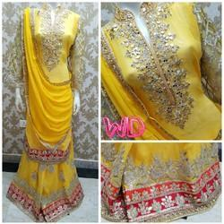 Stiched Yellow Designer Suit