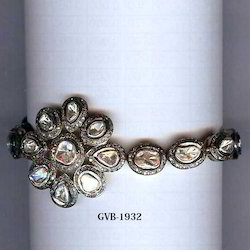 Flower Shape 925 Silver Uncut Real Diamond Bangle