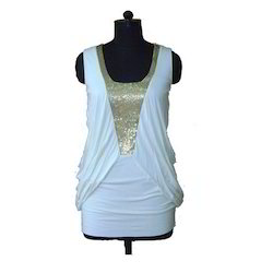 White And Golden Cotton Ladies Fancy Top