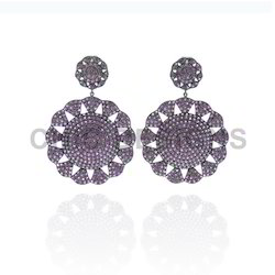 Pave Rhodolite Gemstone Earrings