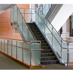Glass And Steel Silver SS Staircase Railings, for Home