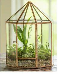 Glass metal terrirum pot