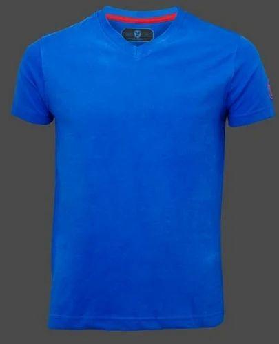 presenting on feet at order online Mens V Neck Plain Blue T Shirt