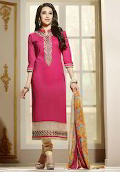 Pink Cotton Ladies Designer Suits, Handwash