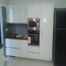 Polished, Painted Stainless Steel Modular Kitchen