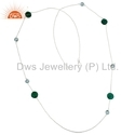 Bleu Topaz Green Onyx 925 Sterling Silver Gemstone Necklace