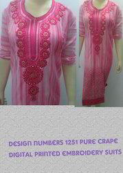 Pure Crape Heavy Designer Suits with Digital Print