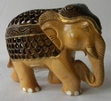 Under Cut Carved Down Trunk Wooden Elephant