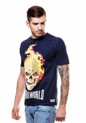 Burning Skull Round Neck T Shirt