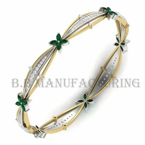 548e76c1e1340 Green Flower With 14k Gold Diamond Emerald Bracelet Bangle
