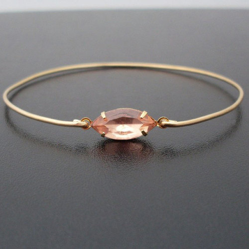 Champagne Quartz Expandable Gold Bangle