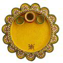 Wooden & Paper Mache Flower Shape Pooja Thali with Kundan Work