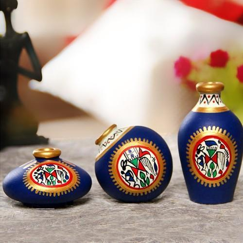 Decorative Terracotta Pots Warli Handpainted Decorative