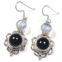 Round Rainbow Moonstone Sterling Silver Earrings
