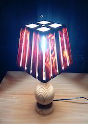 Small Square Eco Slitz Wooden Table Lamp