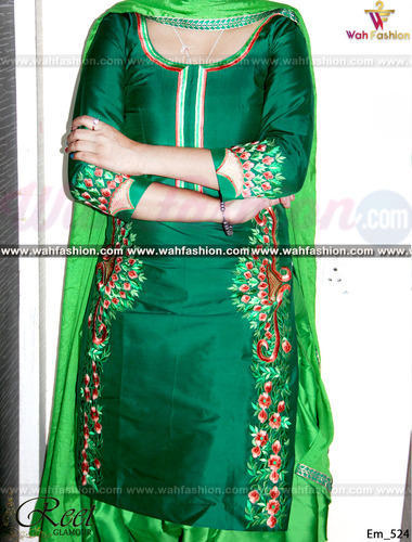 Party Wear Silk Stunning Green Contrasted Embroidered Punjabi Suit