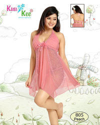 Short Length Peach KuuKee Babydoll Slip, Size: Large