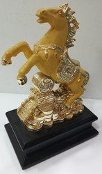 Golden Horse With Lucky Coin (8 Inch Hight)