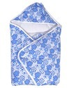 White And Blue Cotton Baby Flower Dry Robe