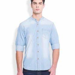 Light Blue Denim Men's Designer Shirt