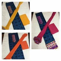 Embroidered Cotton Shibori Top With Cotton Bottom