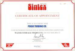 Sintex Distributor Certificate