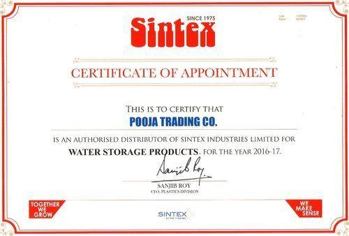 Sintex distributor certificate certification services pooja sintex distributor certificate altavistaventures Choice Image