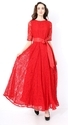 Plain Red Women Party Wear Dresses, Packaging Type: Bag