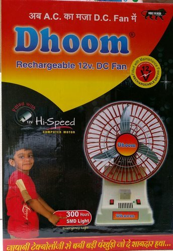 Dhoom Rechargeable 12VDC Fan