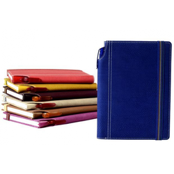 Yellow And Red Leatherite Grained Hard Bound Notebook